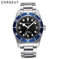 Corgeut 41MM Sapphire glass Black dial blue bezel fullstainless steel band Japan Miyota Automatic mens Watch