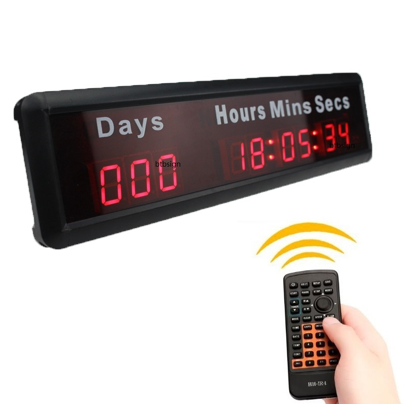 1'' 9digits Led Countdown Event Timer With Silk Printing Words And Remote