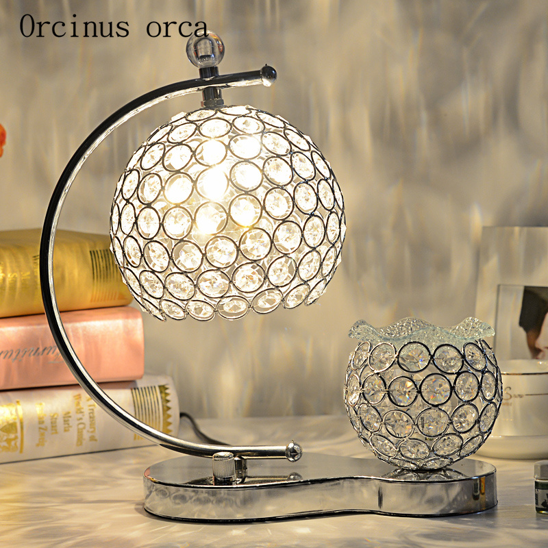 European luxury crystal desk lamp bedroom bedside lamp creative personality aromatherapy color LED crystal desk  lamp
