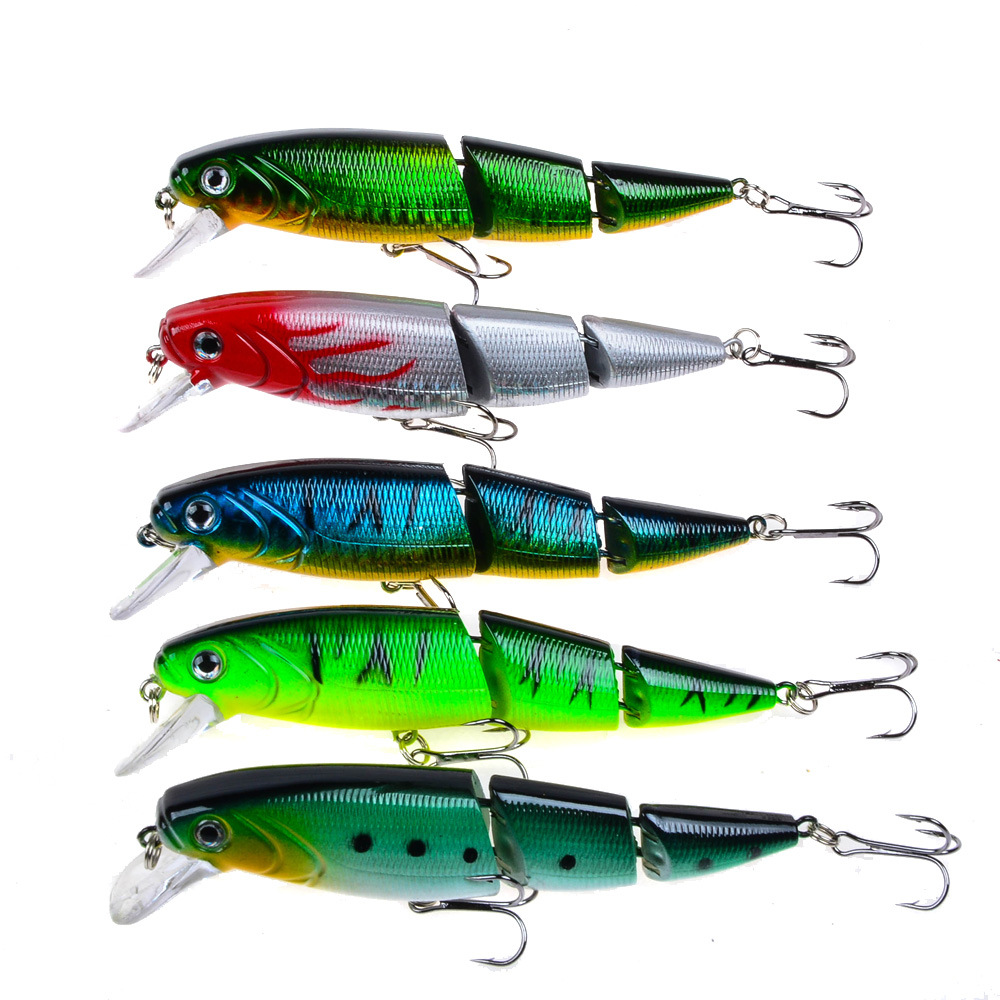 5Pcs 3 sections Fishing Lures Minnow Crankbait Hard bait isca artificial Pesca Sea Fishing Tackle Wobblers 109mm15g-in Fishing Lures from Sports & Entertainment