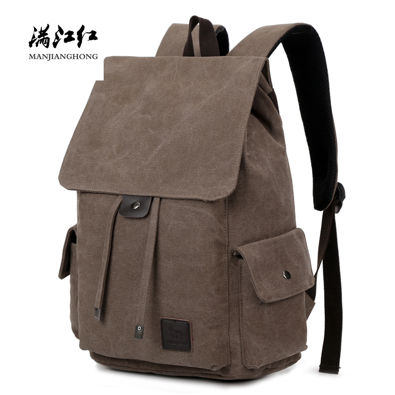 Vintage Men's Canvas Travel Backpack School Bags Large Capacity Male Travel Rucksack Casual Men Laptop Backpack 14 Inch 1264 large capacity vintage canvas travel backpack men fashion business laptop backpack computer bag casual rucksack school bags 1247