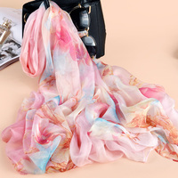 New Arrival 2018 Spring Summer Scarves Beautiful Floral Prints 100 Silk Satin Silk Scarf Thin Ladies