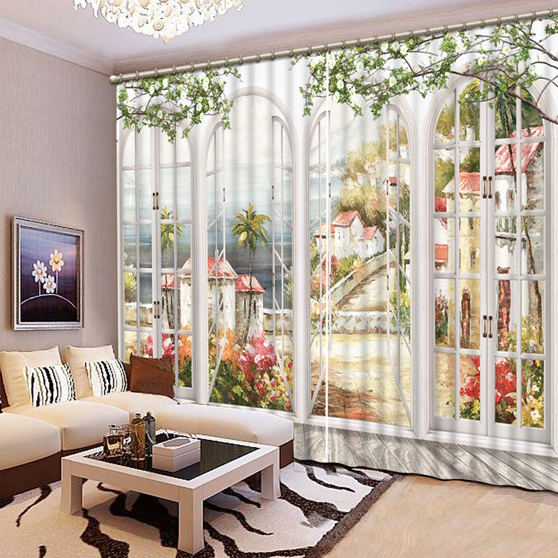 NoEnName_Null High Quality Graceful Seaside Town 3D Printing Curtains High Definition Lifelike Room Curtains CL-056