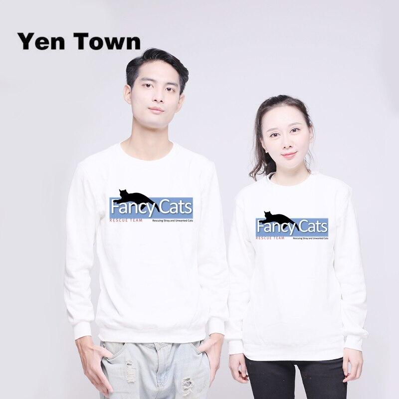 Yen Town Fashion Fancy Cats Fundraising Hoodies Unisex Jumper Sweats Warm Harajuku Sweatshirt Autumn Winter Pullover S-4XL