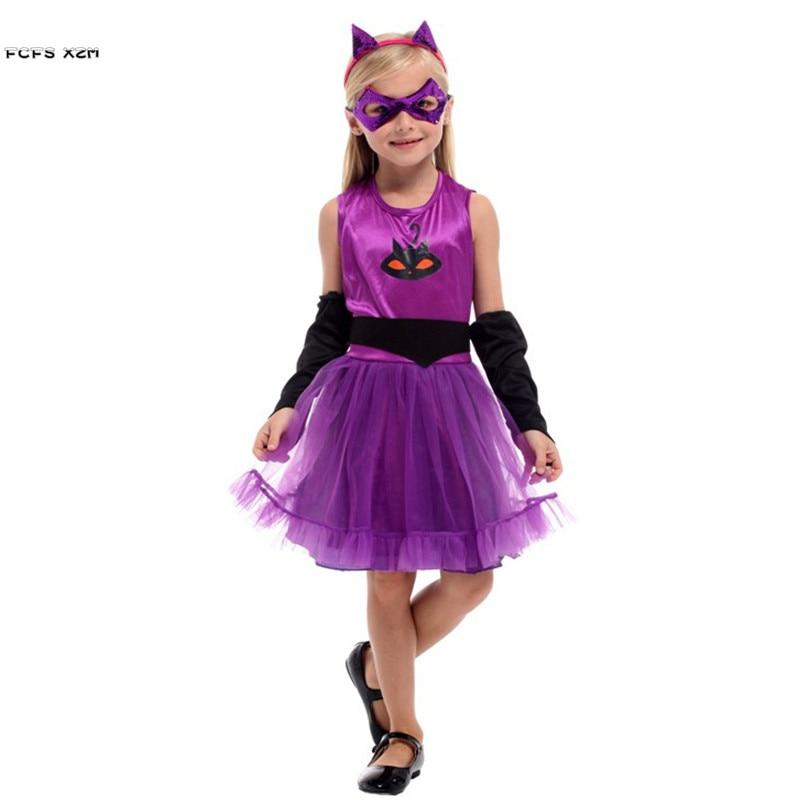 Kids Girl Kigurumi Kitty Catwoman Cosplay Children Halloween Cat animal Costume Carnival Purim Masquerade Stage play party dress