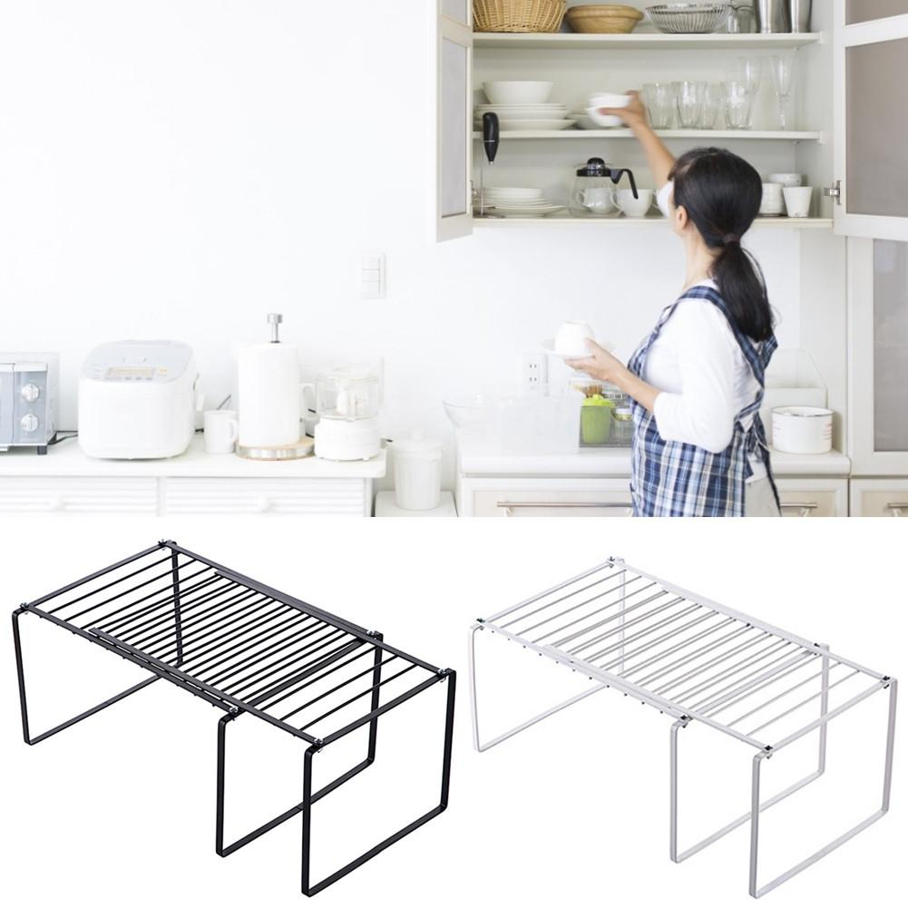 Retractable Shelf Stackable Sliding Rack Organizer Iron Storage Rack For Cabinets Tableware Countertops For Home