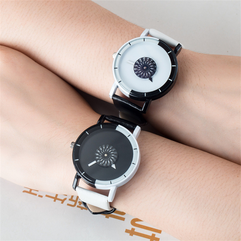 New 2017 fashion women quartz creative watch BGG creative unique students watch Leather band wristwatch Couple girl casual clock bgg brand creative two turntables dial women men watch stainless mesh boy girl casual quartz watch students watch relogio