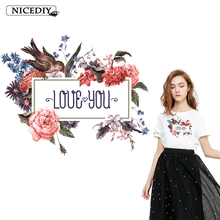 Nicediy Flower Love Letter Patch Heat Transfer Vinyl Iron On For Clothes Fashion Clothing Stickers Garment Accessories