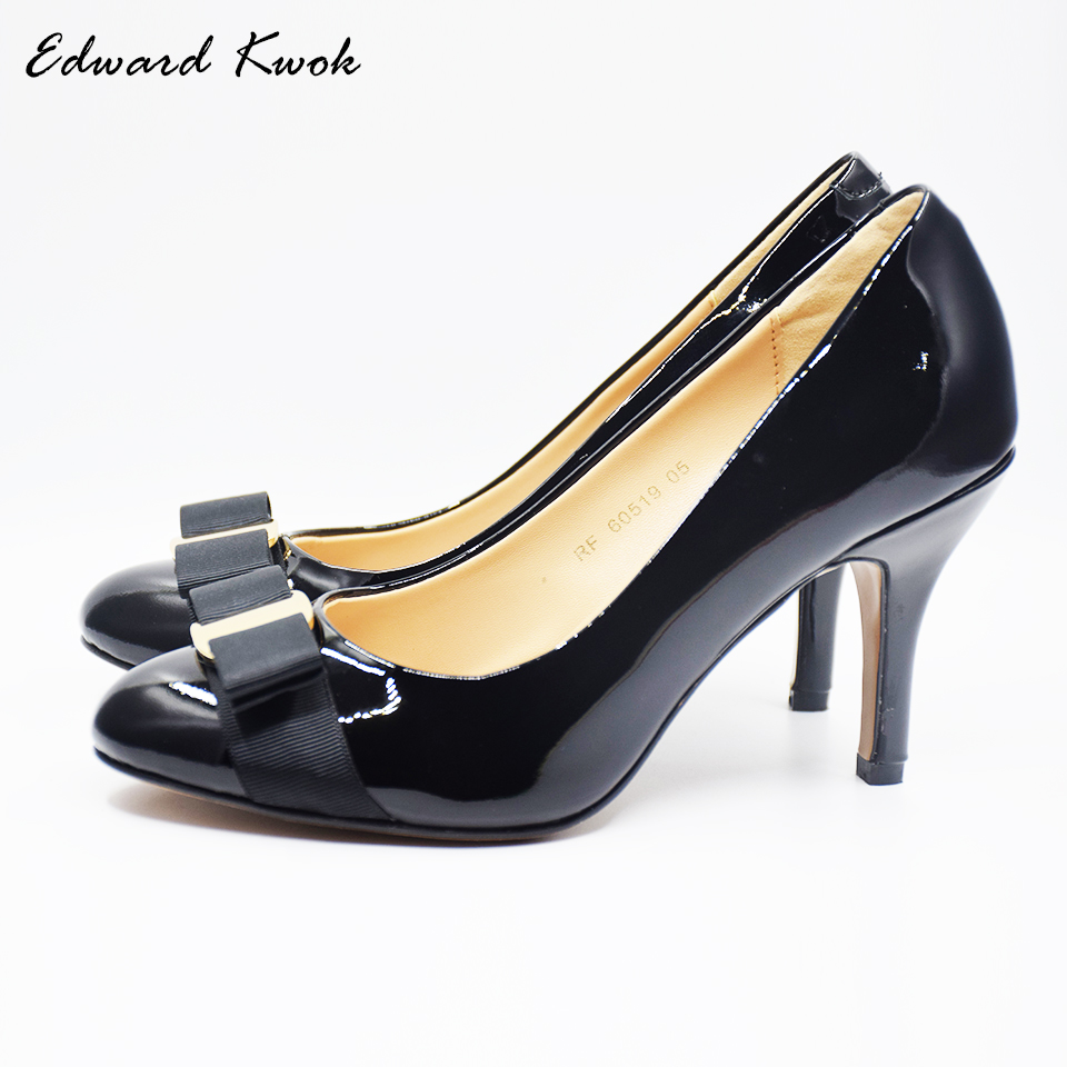 Women Shoes High Heel Genuine Leather Wedding Shoes Pumps Bow Heels DA007