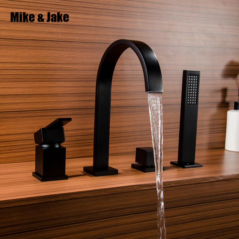 Black Waterfall Bathtub mixer with brass hand shower double function bathtub faucet set deck mounted bath shower faucet MJ04112H
