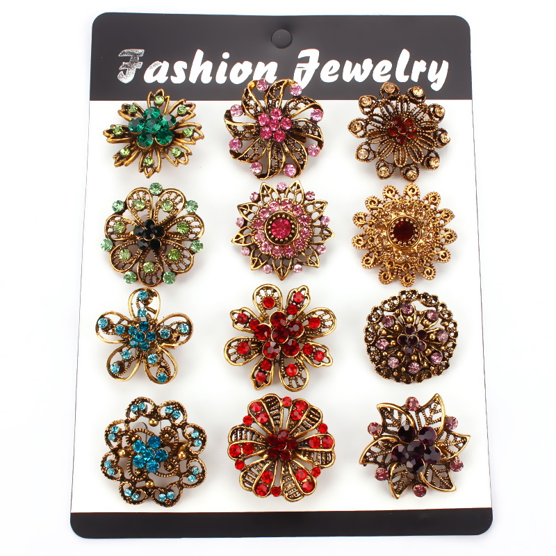 Factory Direct Sale 12 Mixed Crystal Rhinestone Flower Brooches in Antique Gold-color for Women