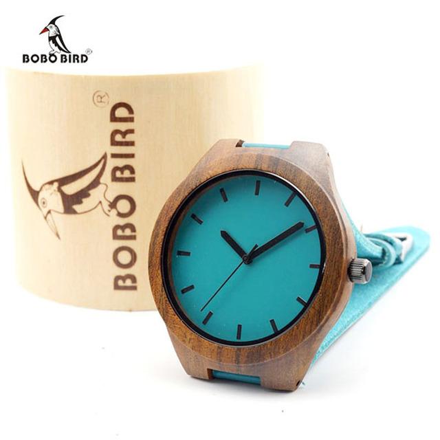 Bobo bird relógios de pulso de madeira com o azul de couro genuíno banda relógio de pulso japão movimento de quartzo homens relógio de madeira de luxo c-l14