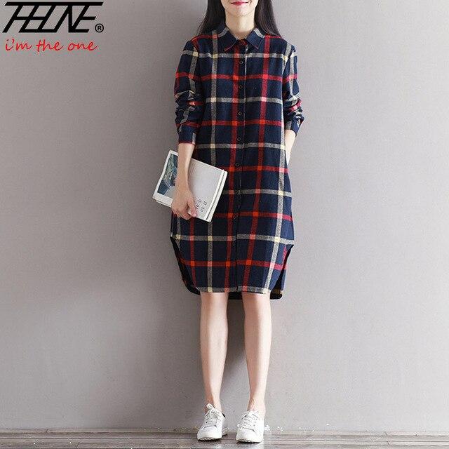 97d3aaeb736 THHONE 2018 NEW Autumn Winter Dress Shirt Women Plaid Button Up Loost Plus  Size Cotton Vestidos Robe Femme Casual Long Dresses