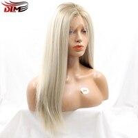 DLME Blonde Ombre Braziliaanse Straight Kant Synthetische Pruiken Wit Afro-amerikaanse Donkere Wortels Hittebestendige Vezel Haar