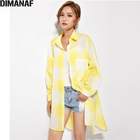 DIMANAF Plus Size Summer Style Blouse Women Plaid Print Linen Long Cardigan Female Casual 2017 Dress