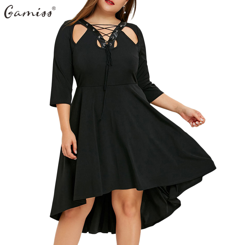 Gamiss Women Gothic Party Dresses Plus Size Cutout Lace Up Dip Hem Dress Female Loose Sexy V-Neck 3/4 Length Sleeves Vestidos