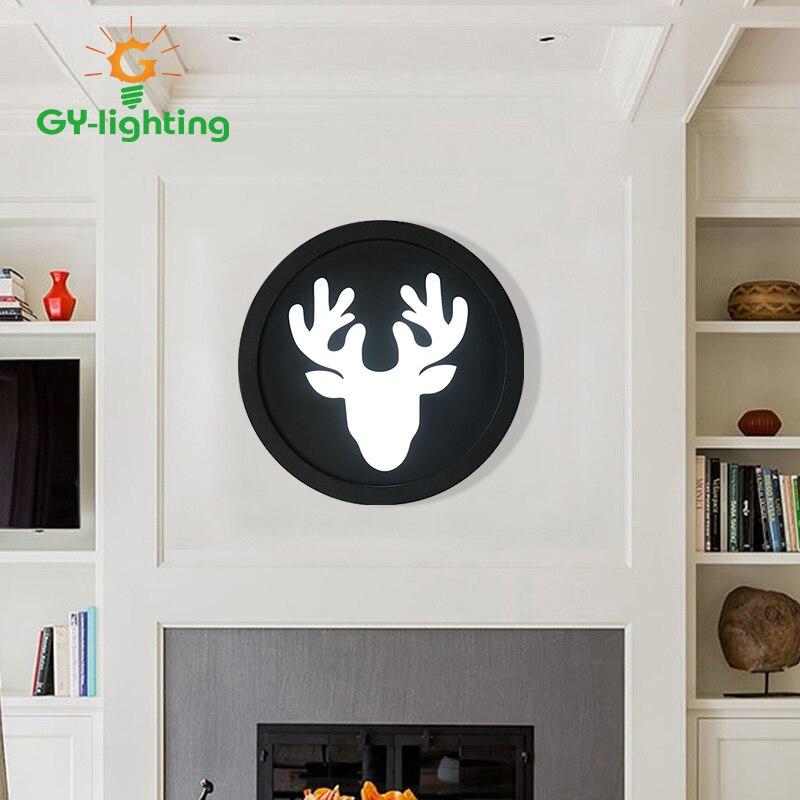 ФОТО 2017 Fashion Deer Round Led Wall Lamp Modern Simple Bedroom Aisle Bedside Lamp Dining Room Lighting AC111-240V Children Lights