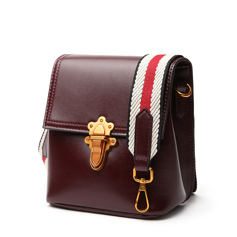 Small and elegant square leather cowboy messenger bags fashion textile wide shoulder strap gene leather leather women's bag cowboy small page 10