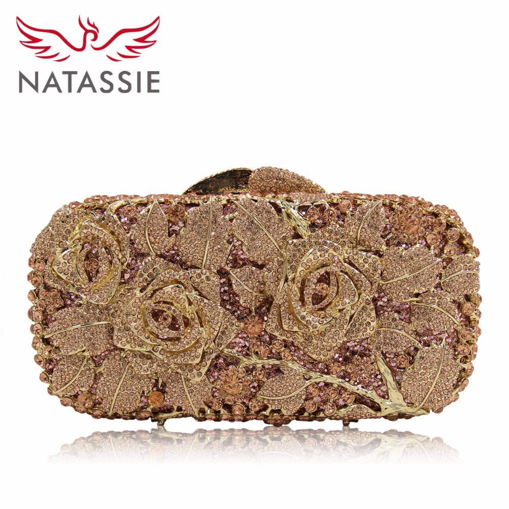 Natassie Luxury Rose Crystal Women Evening Bags Designer Wedding Clutches Bag Party Clutch Purses