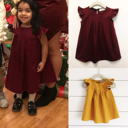 wo kann ich kaufen Modestile harmonische Farben US $4.27 15% OFF Pudcoco 2018 Newborn Baby Girls Dress Princess Solid  Ruffle Party Birthday Tunika Dresses Boho Holiday Outfit Clothes 0 3Y-in  Dresses ...