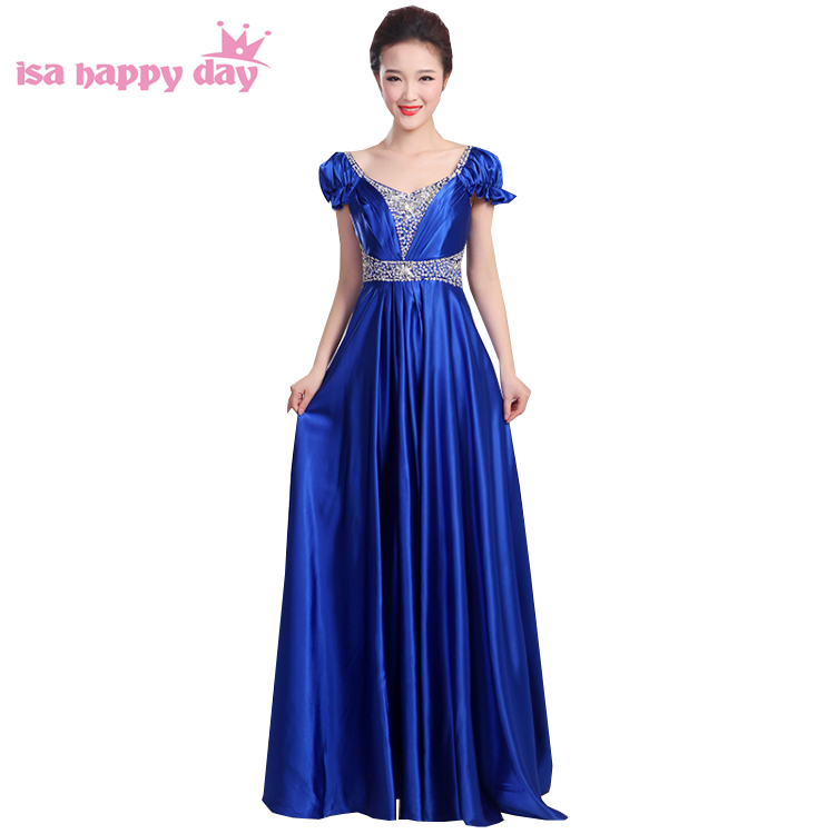 long formal elegant royal blue red satin floor length   prom     dresses   2017 plus size with beads on top   dress   v-neck women H3148