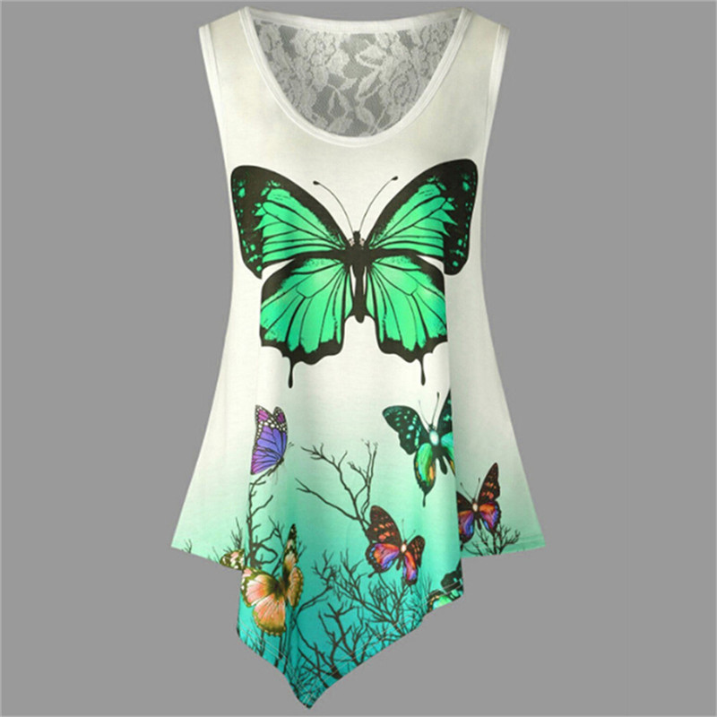 New-Sleeveless-Summer-Casual-Women-T-shirt-Butterfly-Print-Irregular-O-Neck-2018-Tees-Shirt-Fashion