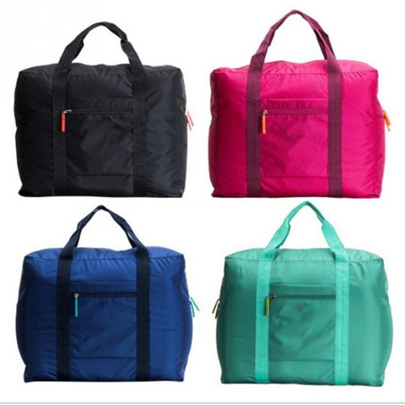 Unisex Waterproof Nylon Folding Travel Bag Large Capacity Foldable Luggage Travel Bag Solid Color Handbag For Men Women Durable