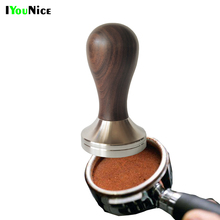 IYouNice Wooden Handle Tamper Coffee Powder 304 Stainless Steel Base  Hammer 51/58mm Coffee Accessories