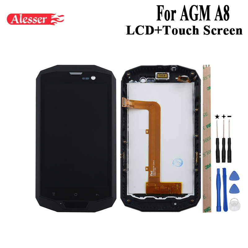 Alesser For AGM A8 LCD Display and Touch Screen With Frame Assembly Repair Parts With Tools