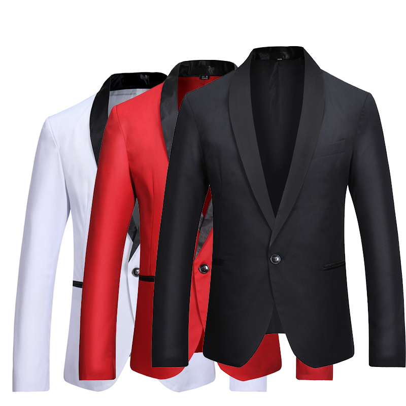 Fashion Brand Men's Suit Jackets European Size S XL High end Casual Male Jacket Red Black White Men Blazers Coats