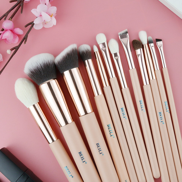 BEILI Pink Goat Hair Essential Foundation Eye shadow Blending Highlight Concealer 12pcs Makeup Brush Set rose golden ferrule 2