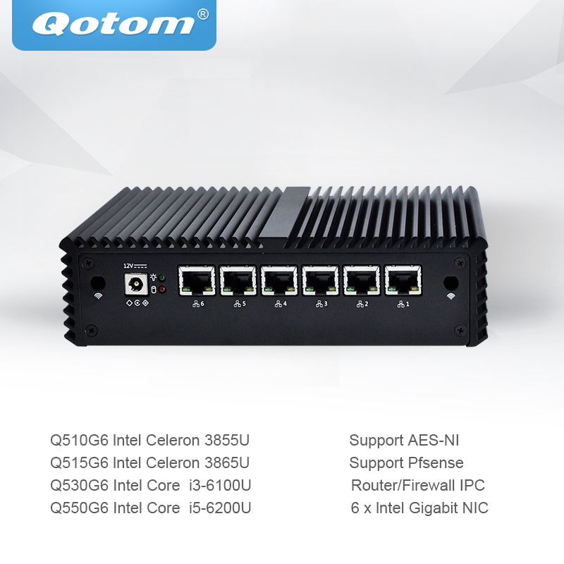 QOTOM Mini PC PFsense with Celeron Core i3 i5 processor 6 Gigabit NIC Router support AES-NI Fanless mini pc Firewall цена