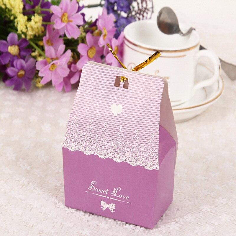 Gift Box Wedding Invitations: 100pcs/lot Sweet Love Happy Wedding Candy Box For Wedding
