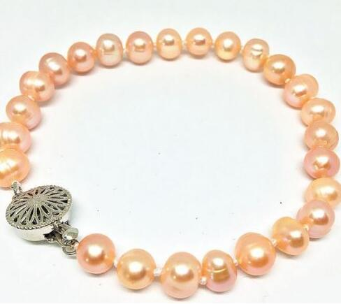 HOT Natural 8-9mm Pink Cultured Freshwater Pearl Bracelet 7.5 Inch 2PCS>>> women jewerly Free shipping