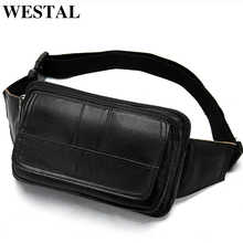 WESTAL Waist Bag Men Genuine Leather Hip/Bum Bags Money Belt Pouch Bag for Phone Multifunction Travel Small Male Fanny Pack 8966 - DISCOUNT ITEM  45% OFF All Category