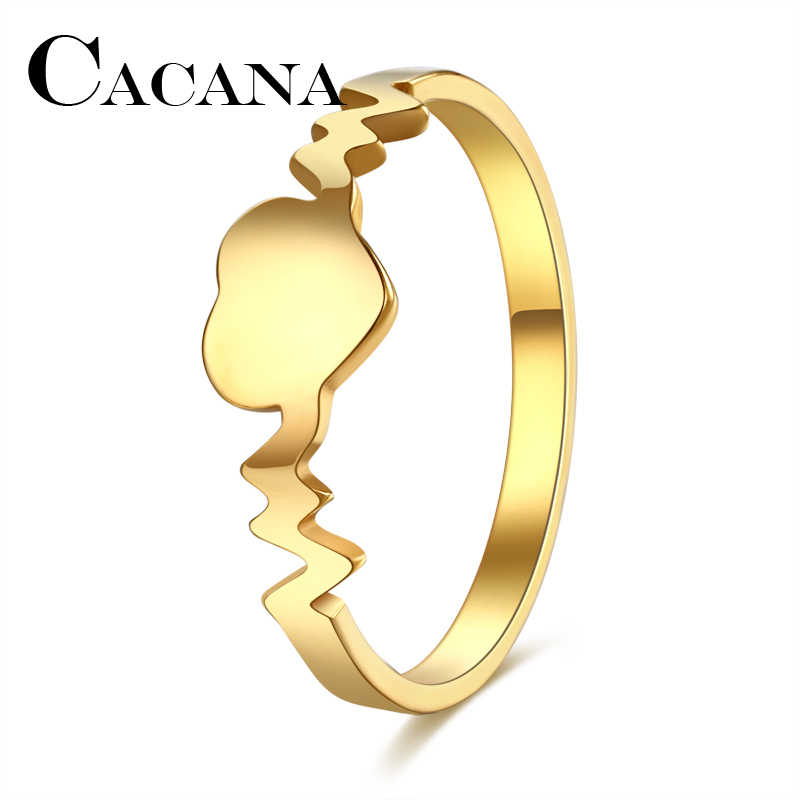 CACANA  2017 Fashion rings Women Gold/Silver Peach Heart Ring 316L Stainless Steel Delicate Wedding Anillos FULL SIZE 6-10