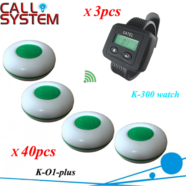 Wireless Pager Service Calling System For Restaurant Salon Beauty Table, 40pcs Electronic Table Bells & 3pcs Wrist Watch K-300 wireless service call bell system popular in restaurant ce passed 433 92mhz full equipment watch pager 1 watch 7 call button