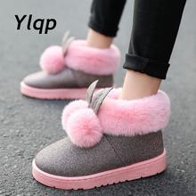 2019 Winter New Women Ankle Boots Rabbit Ears Cute Boots Waterproof and Velvet Thick Warm Cotton Shoes Booties Flat Shoes