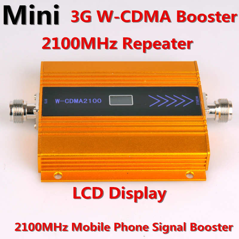 LCD Newest Gold LCD 3G WCDMA 2100MHZ Mobile Phone Signal Booster GSM Signal Repeater Booster , 3G GSM Celular Signal Amplifier
