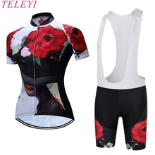 TELEYI  Brand 100% Polyester WomeQuick Dry MTB Bike Pro Team Ropa Ciclismo Cycling Clothing Short Sleeves Breathable BIB