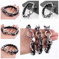16mm Classic Fashion Rvs Link Chain Armband Zilver Zwart Leather Met Schedel/Wolf/Draak Hoofd Cool Mens Gift