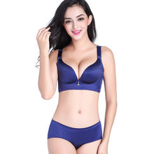 3925cdc277 Women s Large size bra CD cup without rims non-trace stripes gathered fat  mm thin breathable breast adjustable underwear set