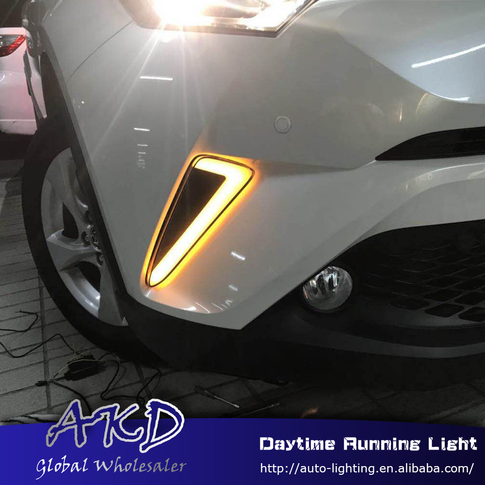 AKD Car Styling for Toyota CHR CH-R 2016-2017 LED DRL for CHR CH-R Turning Led Drl Running Light Fog Light Parking Accessories akd car styling for kia sportage r drl 2014 new sportager led drl korea design led running light fog light parking accessories