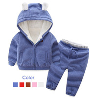 Autumn Winter Boys Girls Clothes Set Children Plus Velvet Suits Casual Warm Thicken Cartoon Bear Outfits Tracksuit Clothing 2 6T