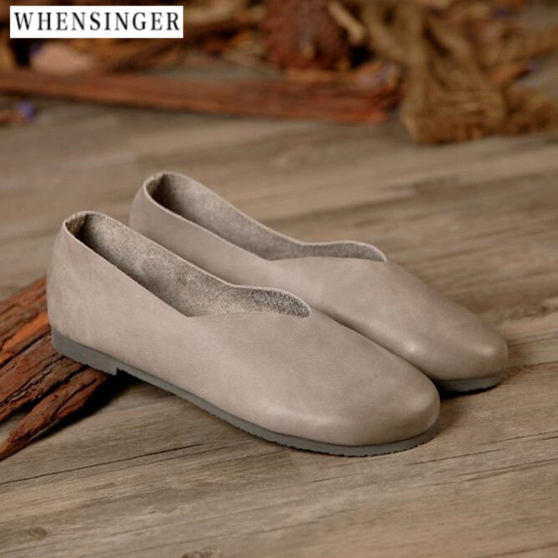 Whensinger Genuine Leather Flat Shoes Woman Hand sewn Leather Loafers Cowhide Flexible Spring Casual Shoes Women Flats Shoes