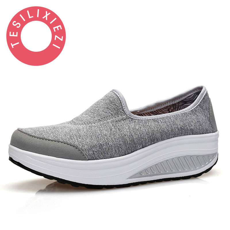 2017 Fashion Women Air Mesh Swing Platform Ladies Lightweight Slip On Flats Soft Comfortable Espadrilles Feminino Casual Shoes 2017 summer style women casual shoes swing shoes flat breathable air mesh fashion shoes platform feminino slip on red 40 lesiure