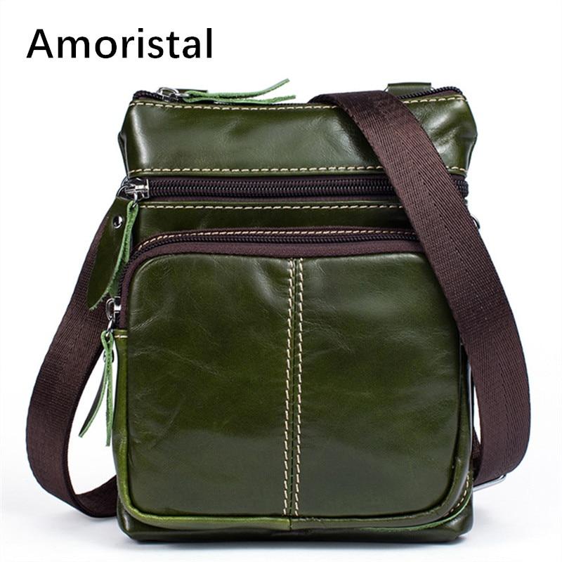 Sac à bandoulière en cuir véritable pour hommes sacs à bandoulière résistant à l'usure pour hommes sacs à bandoulière en cuir de vache souple vert taille 16*3*20 cm B044