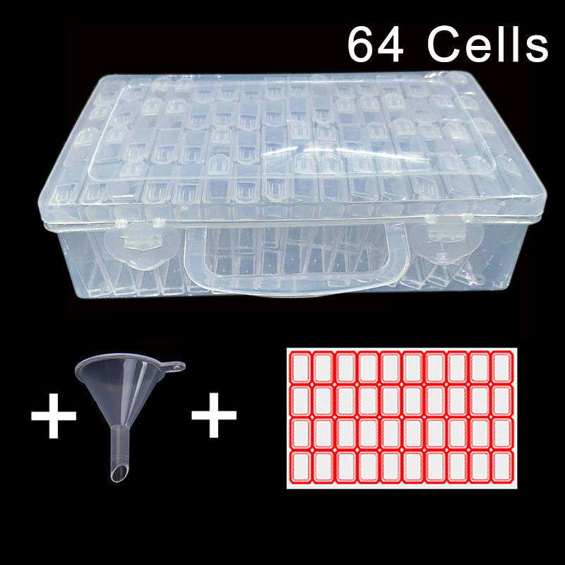 42/64 Cells Plastic Storage Box Funnel and Stickers Sets for Diamond Painting Accessories Tool 30 Bottles Container Bag Sets