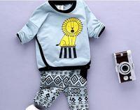 2016 baby boy odzież ustawia żółty lew długi rękaw + spodnie strój męski dziecko polarowe spodnie chłopca ubrania