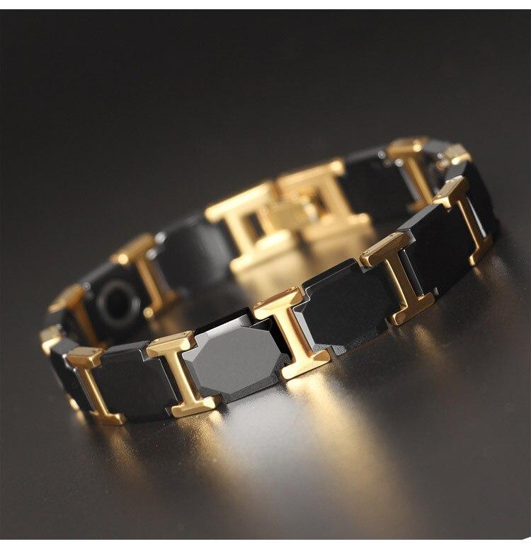 Haute qualité mode coréen homme titane acier Six côtés en céramique Bracelet Germanium pierre santé bijoux